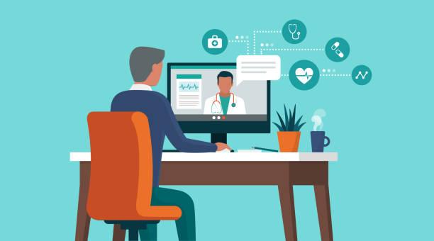 ilustraciones, imágenes clip art, dibujos animados e iconos de stock de hombre mayor consultando a un médico en línea usando su computadora - telehealth