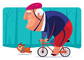 vector illustration of senior man cycling with dog
