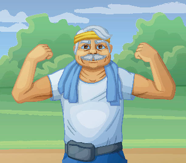 senior man doing sport morning exercises in the park. cartoon - old man smiling backgrounds stock illustrations, clip art, cartoons, & icons