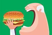 vector illustration of senior man eating big hamburger