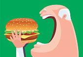 vector illustration of senior man eating big hamburger