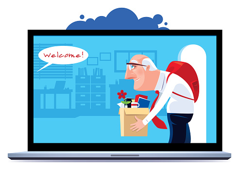 senior man employed and enter office via laptop