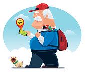 vector illustration of senior man finding happy emoji with smartphone