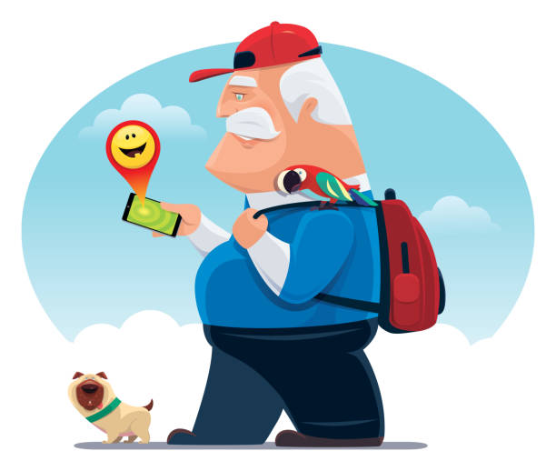 senior man finding happy emoji with smartphone - old man clipart stock illustrations, clip art, cartoons, & icons
