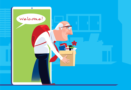 senior man getting employment via smartphone