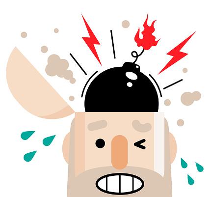 Senior man has a big bomb in his open head