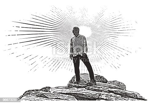 Engraving illustration of a 65 year old man hiking Zion National Park. Angels Landing Trail summit.
