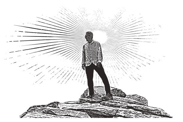 Senior man hiking Zion National Park. Angels Landing Trail summit. Engraving illustration of a 65 year old man hiking Zion National Park. Angels Landing Trail summit. one senior man only illustrations stock illustrations