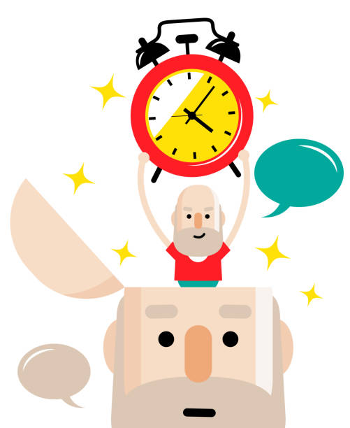 senior man holding an alarm clock and standing in an open head (time management concept) - old man standing drawings stock illustrations, clip art, cartoons, & icons