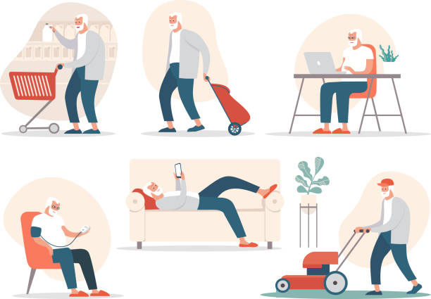 Senior man in different poses and situations. Vector flat cartoon character illustration. vector art illustration