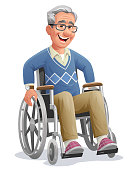 Vector illustration of senior man with gray hair and glasses sitting in a wheel chair smiling at the camera, isolated on white. Concept for elderly people, aging process, physcial injuries, nursing homes, rehabilitation, inclusion, physical therapy, retirement and healthcare.