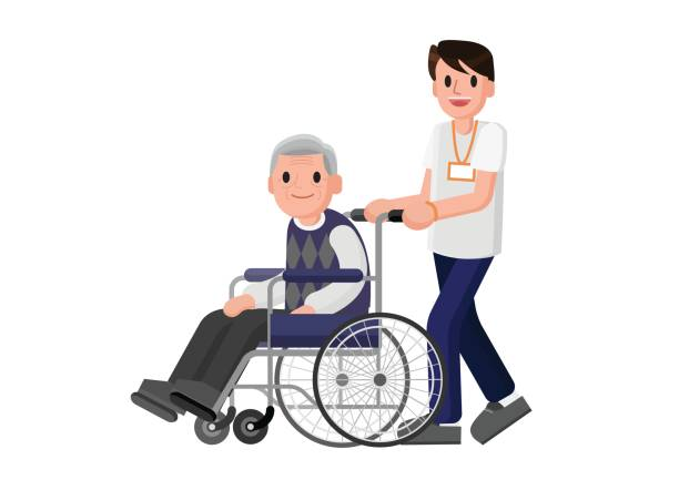 senior man in wheelchair with a careful man. young volunteer caring for elderly man. - care home stock illustrations