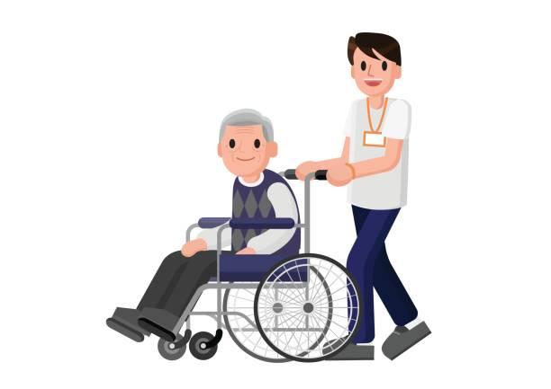 illustrations, cliparts, dessins animés et icônes de senior homme en fauteuil roulant avec un homme prudent. jeune bénévole s'occuper de vieillard. - gériatrie