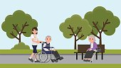 Senior man in wheelchair with careful woman at park. Young volunteer caring for elderly man. an elderly woman sitting on a bench at park.