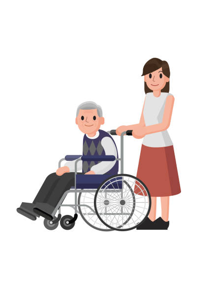 senior man in wheelchair with careful woman. young volunteer caring for elderly man. adult helping and supporting old aged male. - old man smiling silhouettes stock illustrations, clip art, cartoons, & icons