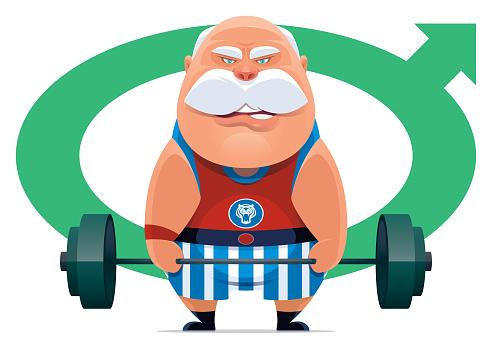 senior man lifting barbell