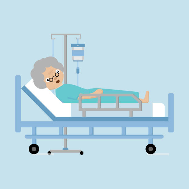 senior man lying in hospital bed with a drop counter. - old man sick hospital bed silhouette stock illustrations, clip art, cartoons, & icons
