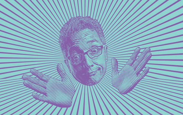 senior man making a funny facial expression - old man making funny face cartoons stock illustrations, clip art, cartoons, & icons