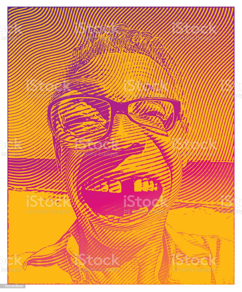 Senior man missing tooth with a funny facial expression vector art illustration