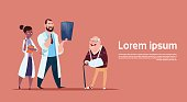 Senior Man On Consultation With Doctors Group, Pensioner In Hospital Health Care Concept Flat Vector Illustration