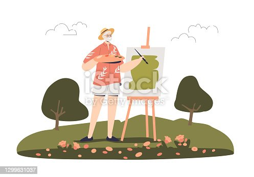 istock Senior man painting picture outdoors in open air. Adult plein air artist creating artwork 1299631037