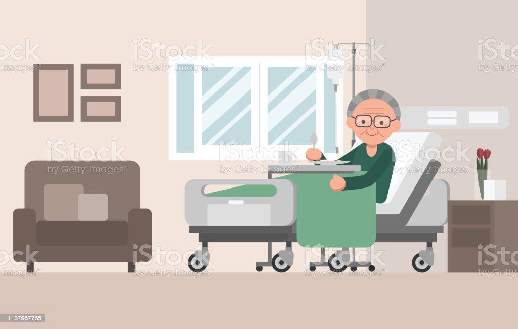 Senior Man Patient Resting In Hospital Bed Stock Illustration