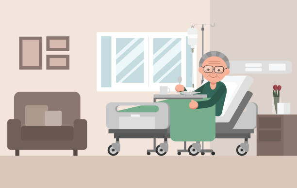 senior man patient resting in hospital bed. - old man sick hospital bed silhouette stock illustrations, clip art, cartoons, & icons