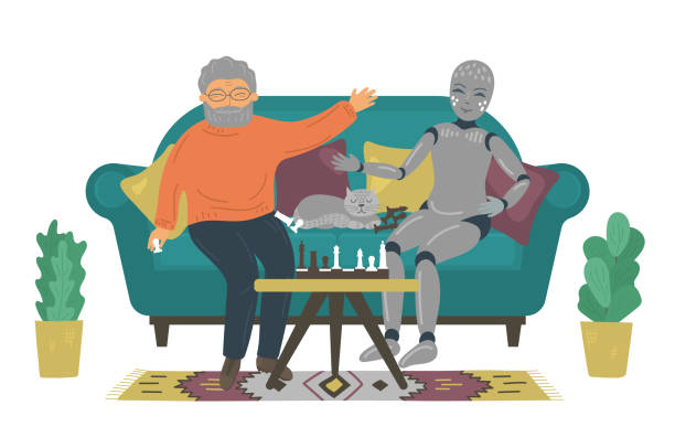 senior man playing chess with robot on sofa at home - old man playing chess silhouettes stock illustrations, clip art, cartoons, & icons
