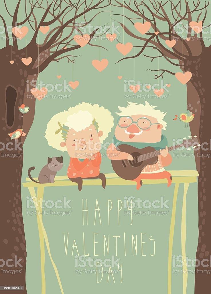 Senior man plays guitar to grandmother