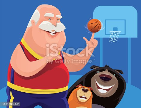 istock senior man spinning basketball with dogs 922783202