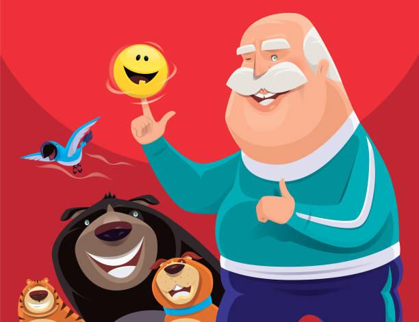 senior man spinning happy emoji - old man showing thumbs up cartoons stock illustrations, clip art, cartoons, & icons