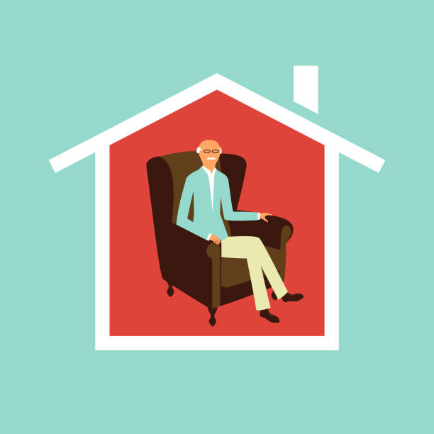 Senior man staying at home concept as protection from Covid-19 vector art illustration