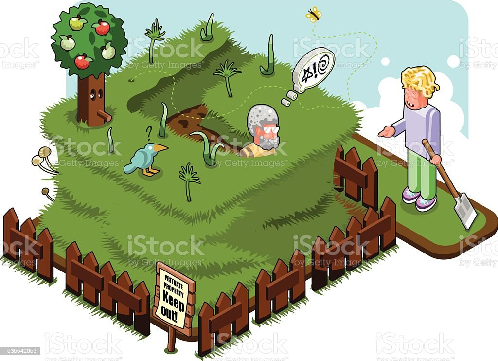 Senior man sunk in high grass while neighbor is laughing vector art illustration
