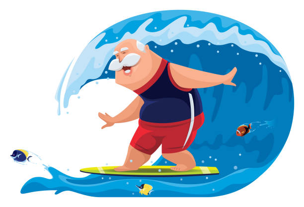 senior man surfing with tropical fishes - old man funny cartoon stock illustrations, clip art, cartoons, & icons