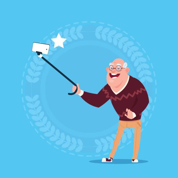 senior man taking selfie photo with self stick grandfather full length - old man smiling backgrounds stock illustrations, clip art, cartoons, & icons