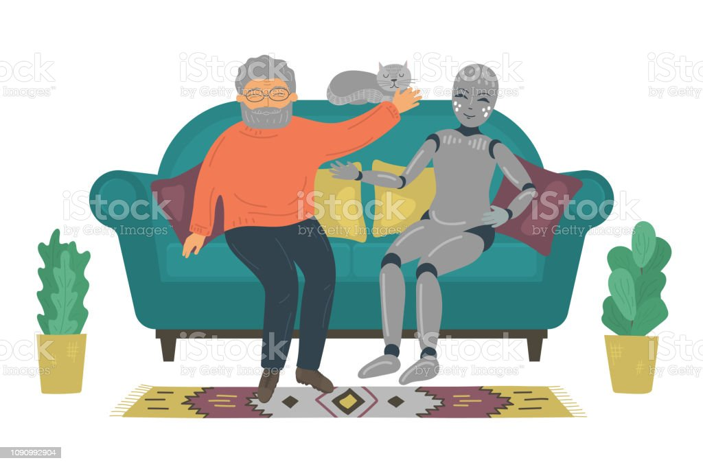 Senior Man Talking With Personal Domestic Robot On Sofa