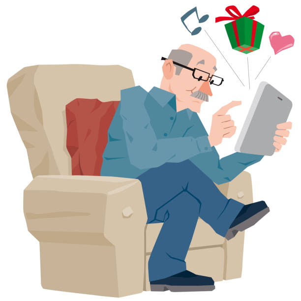 Senior Man using Digital Tablet Vector Illustration cartoon of a Senior Man using Digital Tablet sending messages buying gifts and music. one senior man only illustrations stock illustrations