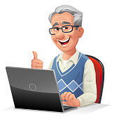 Vector illustration of senior man with gray hair and glasses sitting at a desk working on a laptop, gesturing thumbs up- isolated on white. Concept for elderly people and technology, active seniors, the internet, retirement, communication, computer training and online shopping.