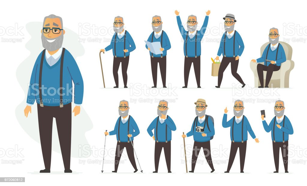Senior homme - jeu de caractères de gens cartoon vector - Illustration vectorielle