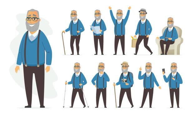 ilustrações, clipart, desenhos animados e ícones de homem sênior - conjunto de caracteres de pessoas de desenho vetorial - idoso