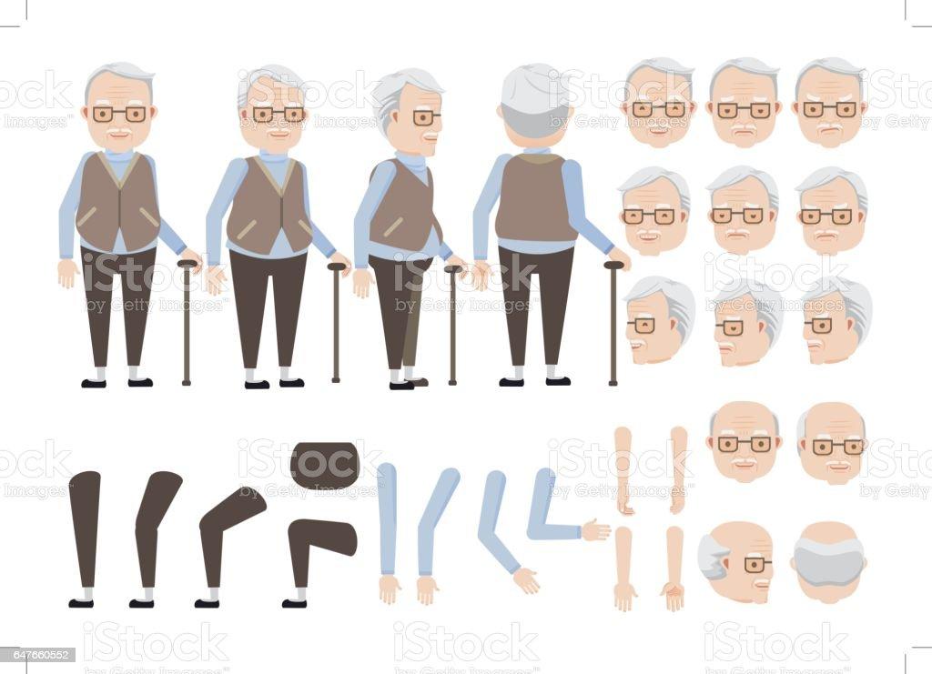senior hombre - ilustración de arte vectorial