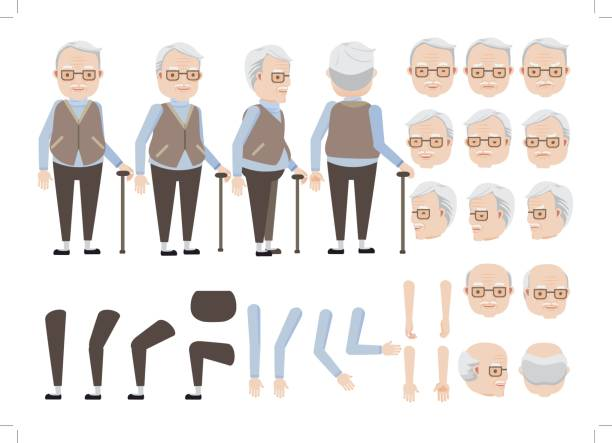 senior man - old man hair stock illustrations, clip art, cartoons, & icons
