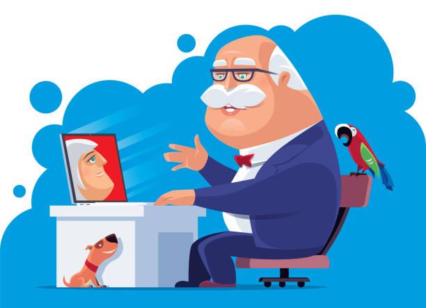 seniorenmann-video plaudert mit frau - arbeitshunde stock-grafiken, -clipart, -cartoons und -symbole