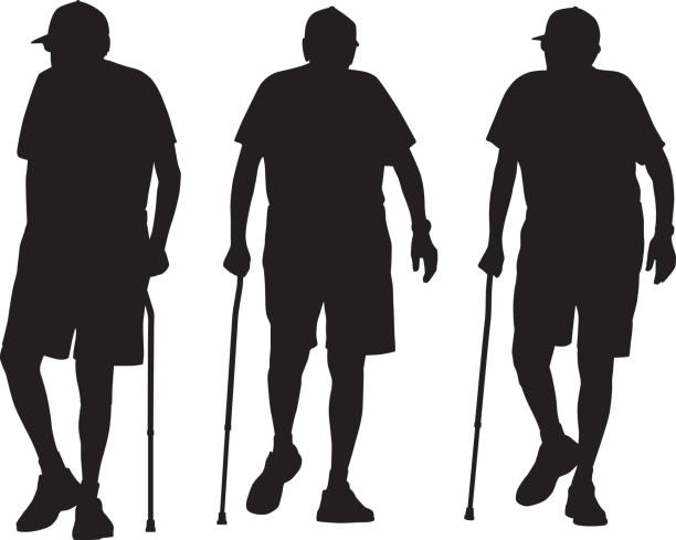 senior man walking with cane silhouettes - old man hat stock illustrations, clip art, cartoons, & icons