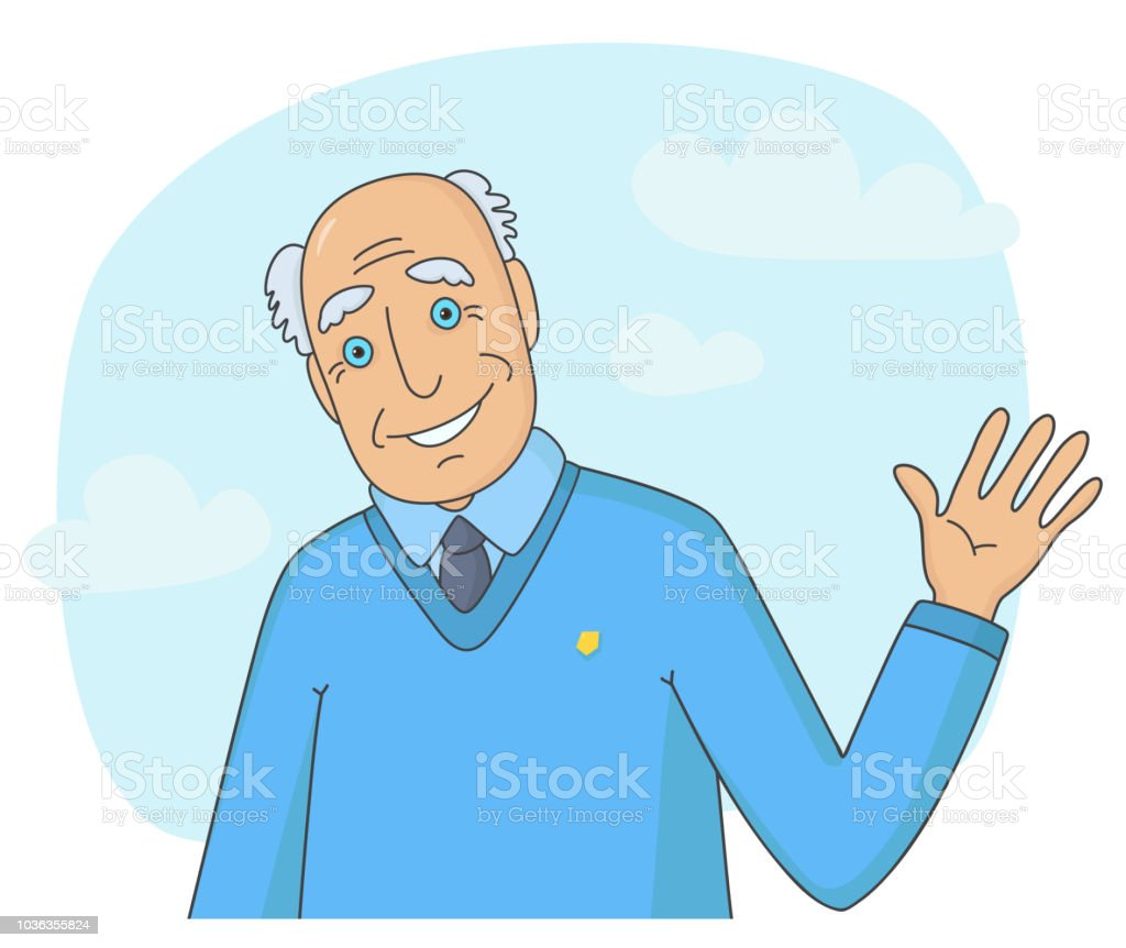 Ältere Mann seine Hand winken – Vektorgrafik