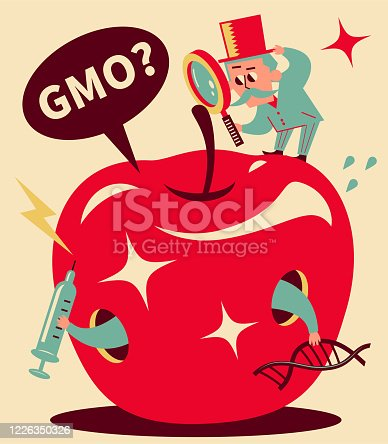 istock Senior man (Professor, Detective), wearing top hat, standing on top of big apple and holding a magnifying glass, genetic engineering, GMO, genetically modified food and gene manipulation concept 1226350326
