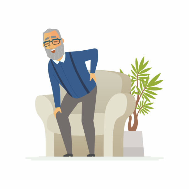 Senior man with a backache - cartoon people characters isolated illustration Senior man with a backache - cartoon people characters isolated illustration on white background. An elderly person trying to stand, but feels the pain. An image of a chair, a plant. Medical concept one senior man only illustrations stock illustrations