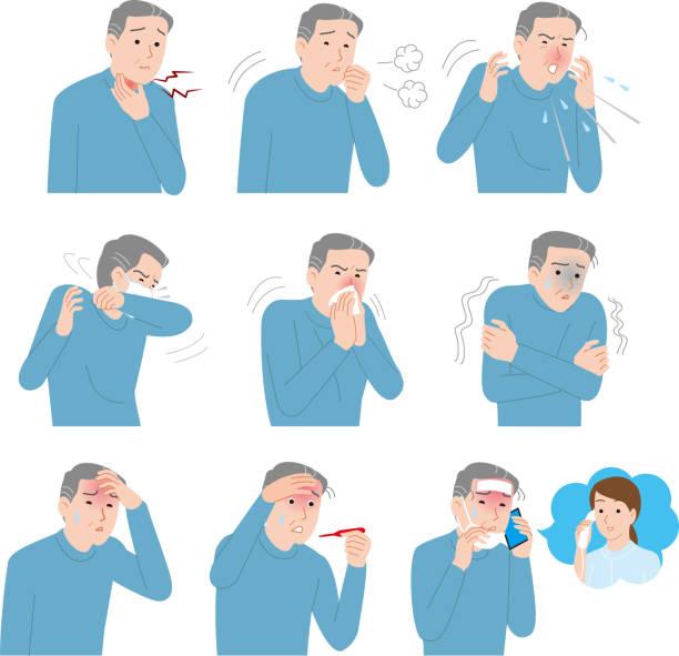 風邪症状のシニア男性 - くしゃみ 日本人点のイラスト素材/クリップアート素材/マンガ素材/アイコン素材