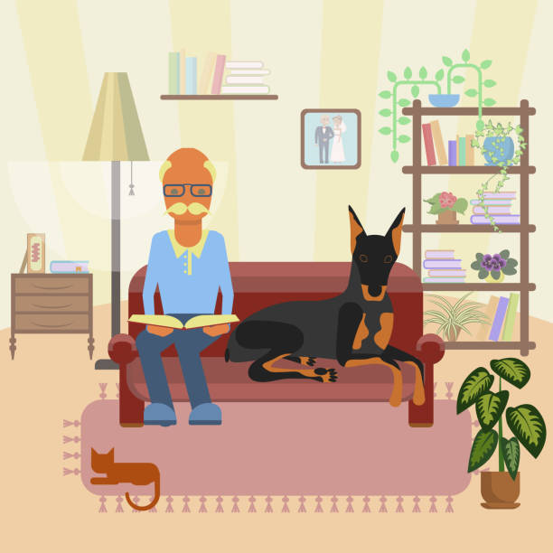 a senior man with dog - old man sitting chair silhouettes stock illustrations, clip art, cartoons, & icons