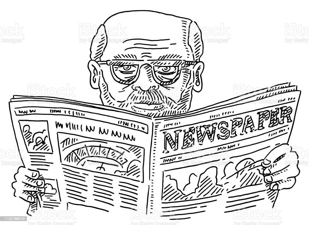 Hand-drawn vector drawing of a Senior Man With Glasses Reading a...